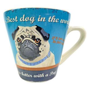 Martin Wiscombe Art Retro PUG MUG Slogans Best Dog Happiness Life Is Better Love