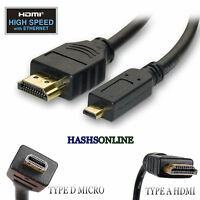Premium Micro Type D to Standard HDMI v 1.4 Ethernet 3D 1080P Mobile Cable Lead