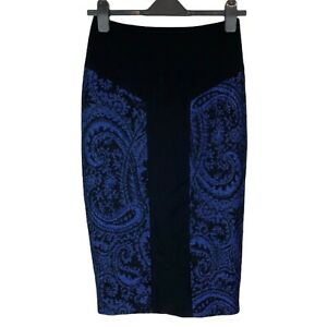 Ted Baker Blue Black Woven Wool Mix Zip Back Pencil Skirt UK Size 8 EXC CON
