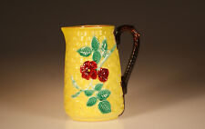 Majolica Aesthetic Movement Yellow Basket Weave Pitcher with Red Begonias