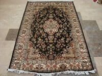 Chocolate Brown Ivory Flower Area Rug Hand Knotted Wool Silk Carpet (6 x 4)'