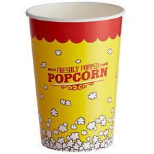 Yellow Popcorn Cups Round Paper Watch Movie Theater Concession 46oz 500 Pack
