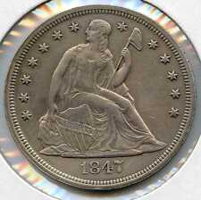 """1847 $1 Liberty Seated Silver Dollar.Almost Uncirculated. Lot#2477. In a 3"""" flip"""