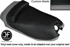 BLACK AND GREY VINYL CUSTOM FITS HYOSUNG GRAND PRIX 125 DUAL SEAT COVER ONLY