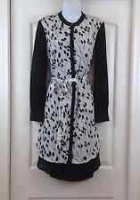 DKNY Black & White Botanical Print Jewel Neck Long Sleeve Belted Sz S Dress