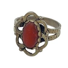 Vintage Navajo Sterling Silver Red Coral Ring Size 7.75