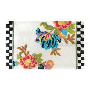 Mackenzie Childs WHITE FLOWER MARKET Cotton/Viscose BATH RUG LARGE (30x48)m21-au