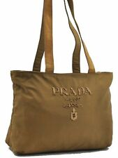 Authentic PRADA Nylon Beads Shoulder Tote Bag Brown A4764