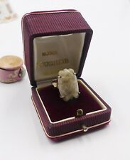 Antique Chinese gold plated silver  white jade Cicada ring size 7