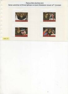 Papua New Guinea 2011 Royal Wedding set of 4 used stamps First Day issue