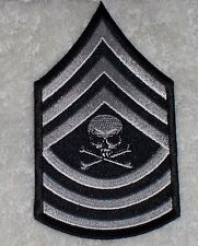 Master Sergeant With Skull White Embroidered Biker Patch