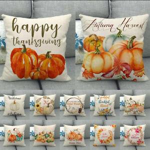 Autumn Thanksgiving Pumpkin Linen Cushion Cover Pillow Case Home Sofa Car Decor