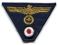 WWII German Kriegsmarine Cap Trap Eagle Iron Cross Gold on Dark Navy wool Patch