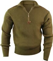 Olive Drab Acrylic Commando Military Quarter Zip Sweater with Suede Patches