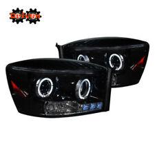 06-08 Dodge Ram Smoked Tinted Headlights Dual Halo LED  Projector 1500/2500/3500