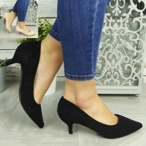 Court Shoes Pointed Ladies Kitten Heel Casual Work Dress Office Womens Size New
