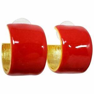 KJL Kenneth Jay Lane Cherry Red Enamel Hoop Style Earrings in Gold, Post Back