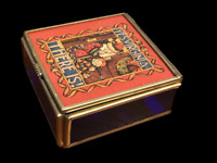 """Mary Engelbreit Enesco Stained Glass Trinket Box """"Yes Virginia There Is!"""" 3.25"""""""