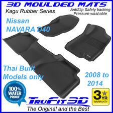 Fits Nissan Navara dual cab D40 2008-2014 Trufit 3D Black Rubber Car Floor Mats