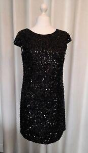 Roman Black Sequin Cocktail Dress Size 16 WORN ONCE