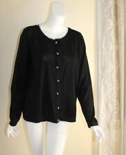 NWT Talbots -Sz XL Black Metallic Fine Merino Wool Silk Trim Cardigan Sweater