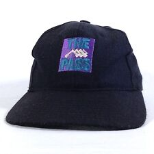 THE PASS 100% Wool Snapback Baseball Cap Black Hat Adult Size SM to MED Lid   c1