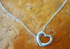 Silver Open and Moveable Floating Heart Necklace Delicate Classic