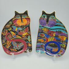 Laurel Burch 2 Royal Doulton Cat Plates Fluttering Feline & Cat Fish 24k Gold