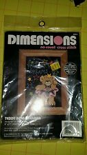 Dimensions no count cross stitch 5 inch by 7 inch frame size teddy bear dreamer