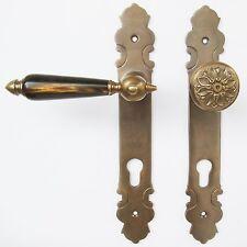Haustürbeschlag Messing antik Türklinken für Haustür (#63-1a-AHN)