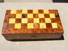 Handmade Thuya Birdseye Burl Wood Chess Box Set From Morocco