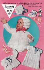 Vintage Baby knitting pattern Copy in 3 ply dress jacket bonnet bootees