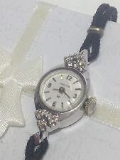 WOMEN'S VINTAGE HAMILTON 14K WHITE GOLD + DIAMONDS MANUAL WIND WATCH  CLEAN RUNS