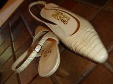 Salvatore Ferragamo Italy tan moc croc leather flat toe sling heel shoe 8.5 2A