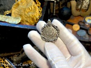 "SPAIN 2 REALES 1700-46 ""SKULL AND BONES"" PIRATE GOLD COINS JEWELRY NECKLACE"