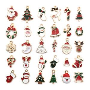 Christmas Enamel Charms Pendants Xmas Jewellery Earrings Bracelets Gold Mix