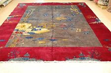 Circa 1910's ANTIQUE MINT ART DECO DRAGON DESIGN CHINESE RUG 9x11.5 ROOM SIZE
