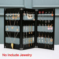Clear Foldable Jewelry Display Stand Screen Holder Rack Earring Necklace Shelf