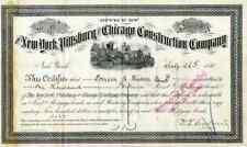 1881 New York Pittsburg & Chicago Construction Co  Bond Certificate