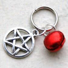 Cat Collar Dog Collar Charms Red Bell & Pentagram Witches Pentacle New LB1095
