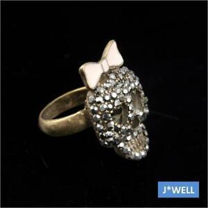 Betsey Johnson Cute Ribbon Crystal Skull Head Punk Girl Love Gift Ring Size 5