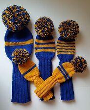 Set of 5 BLUE/GOLD RETRO Pom DRIVER WOOD HYBRID Knit Sock GOLF CLUB Head Covers