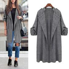 2017 Women Winter Trench Coat Jacket Outwear Top Long Waterfall Linen Overcoat