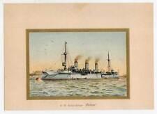 Kreuzer Gesion - Schiffe-Marine-Seefahrt - Lithographie A Graf 1900 Kriegsschiff