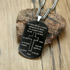 Necklace Pendant Men Bible Army Prayer Men Stainless Steel Pendant Cross Dog Tag