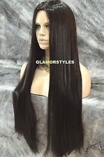 Very Long Straight W Hair Part Off Black Full Wig With Hair Part Hair Piece #1B