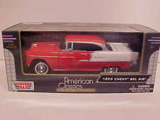 1955 Chevy Bel Air Hard Top Coupe Die-cast Car 1:24 by Motormax 8 inch Red