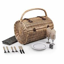 Picnic Time Handcrafted BARREL Dahlia Picnic Basket &Wine Deluxe Service For Two