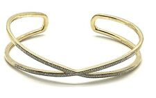 Sterling Silver Gold Tone Pave Diamond Elegant X Crossover Cuff Bangle Bracelet