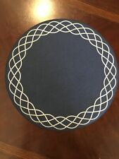 Bodrum Placemats.  - Round Navy With White Lace